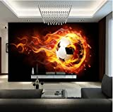 Customized Size 3D Fire Football Photo Mural Non-woven Modern Boy's Room Living Room TV Sofa Background Wall Cool Home Decor