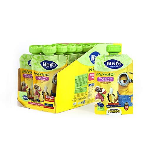 Hero Baby Mi Fruta Bolsitas de Plátano y Fresa - Para Bebés a Partir de los 12 Meses - Pack de 18 x 100 g