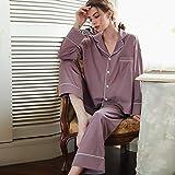 STJDM Bata de Noche,Pink Pruple Women's Sleep Pajama Set Sleepwear Sexy Nightwear Suits Faux Silk 2 Pieces Nightgown Homewear XL Purple