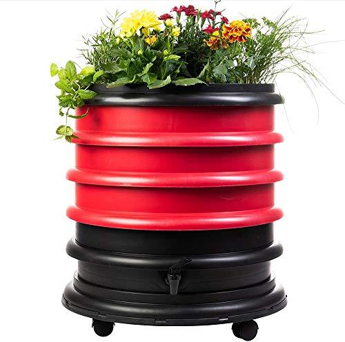WormBox : Lombricomposteur 3 Plateaux Rouge avec Jardinière - 56 litres - Fabriqué en France