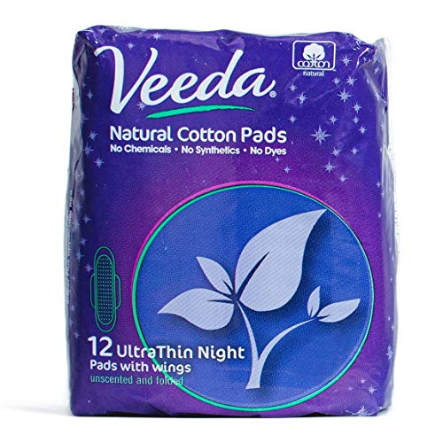 Veeda Ultra Thin Absorbent Overnight Pads are Always Chlorine and Fragrance Free, Hypoallergenic, Natural Cotton Sanitary Napkins, 12 Count