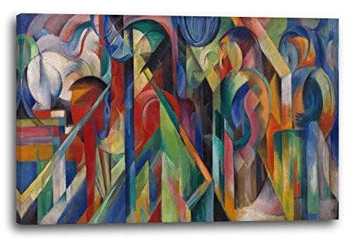 Printed Paintings Leinwand (100x70cm): Franz Marc - Stallungen (1913)