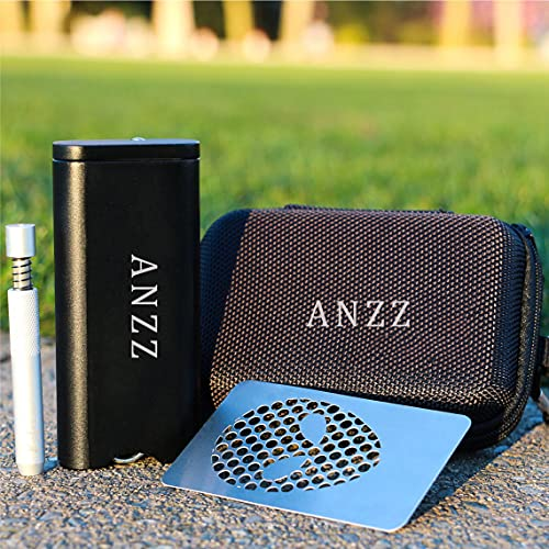 ANZZ Portable Storage Box Container and Grinder - Aluminum Powerful Magnetic Cover for Smell Proof   All-in-one Design   The Best Travel Kit (Black)