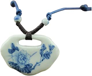 Easting Chinese Style Painted Blue and White Peony Flower Lock Shape Ceramic Pendant Necklace