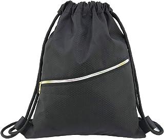 FENICAL Mochila con cordón Gymsack Bolsa de Cuerdas Mochila Deportes atlético Saco de Gimnasio para Hombres Mujeres niños (Negro)