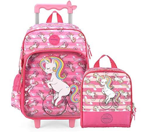 Kit Mochila De Rodinha Feminina unicornio 35472 rosa