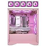 JF-TVQJ Caja Pc Gamer Carcasa para Juegos De Pc con 5 Ventiladores Rosa, Chasis De Computadora M-ATX/ITX De Torre Media 、 Panel Lateral De Vidrio Templado, Listo para Refrigeración por Agua