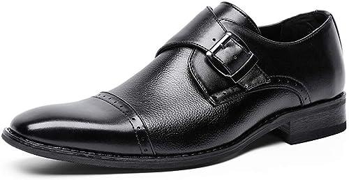 EGS-chaussures Pédale Chaussures en Cuir pour Hommes Habillées Chaussures d'affaires Chaussures pour Hommes à tête carrée Chaussures de Cricket (Couleur   Noir, Taille   41)