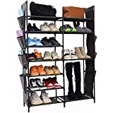 YCOCO 7 Tier Shoe Rack Storage Organizer,Stackable Shoe Boots Organizer shelf with 2 pack Hanging storage bag,for Entryway,Closet and Bedroom,Black