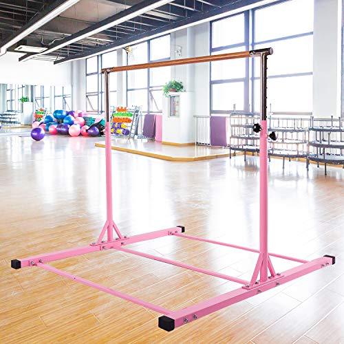 Dai&F Horizontal Gymnastics Bar for Kids,Height Adjustable Junior Training Bar,Kip Bar Ideal for Gymnasts 1-4 Levels, 300 lbs Weight Capacity Pink