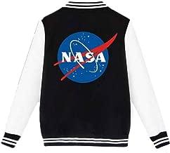 Coli&Tori Women's Single Breasted Letterman NASA Print Baseball Varsity Jacket