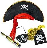 Balinco Piratenset für Kinder bestehend aus Piratenhut + Augenklappe + Fernrohr + Münzbeutel inkl. 20 goldenen Münzen - Kostüm Set für Fasching / Karneval