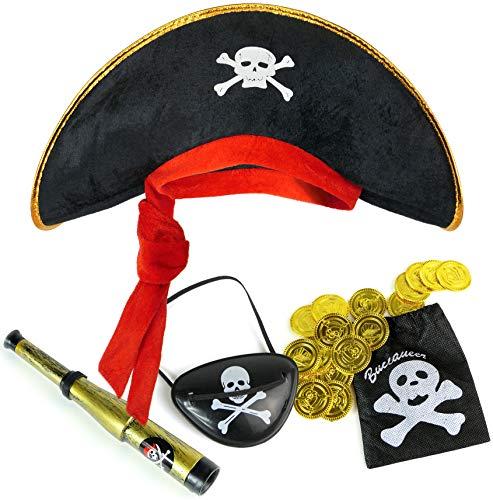 Balinco Set Pirata per Bambini Composto da Cappello da Pirata + Benda per Gli Occhi + cannocchiale + Sacchetto con 20 Monete d'Oro  Set di Costume per Carnevale