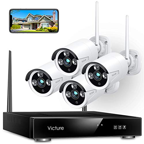 Wireless Security Camera System, Victure 1080P 8 Channel NVR 4PCS Outdoor WiFi Surveillance Camera with IP66 Waterproof, Night Vision, Motion Alert, Remote Access, No Hard Disk. Buy it now for 179.99