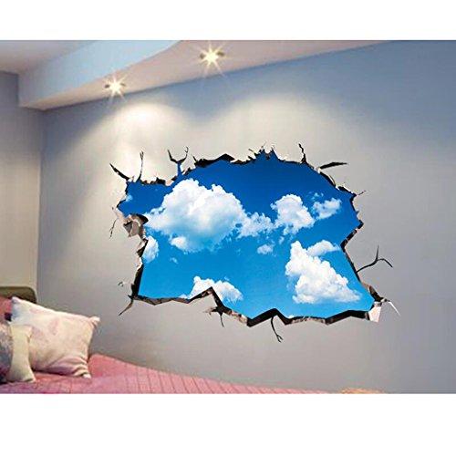 Fond d'écran autocollant en 3D Fondation Murale murale décorative murale créative murale Sticker (Blue Sky White Cloud) (105 * 60cm)
