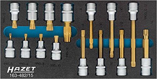 Hazet schroevendraaier-inzetset, (Robertson) 12,5 = 1/94 2-delig 163-482/15 ∙ vierkant 12,5 mm (1/2 inch) ∙ binnen veeltand profiel XZN ∙ Aantal gereedschappen: 15, tin gecoat