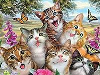 ダイヤモンド刺繡かわいい猫家族の針仕事クロスステッチフルダイヤモンドdiyダイヤモンド絵画スクエア40x50cm