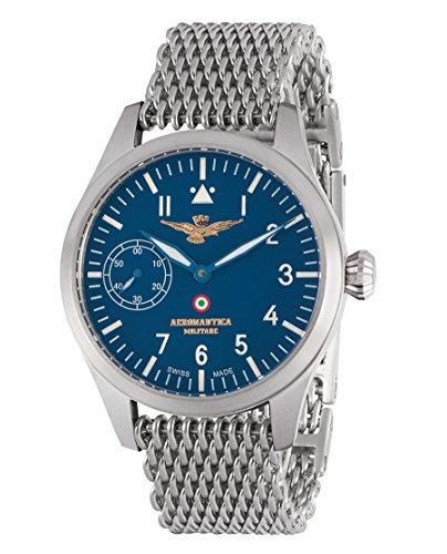 Aviator Meccanico Manuale satinato, quadrante blu, cinturino maglia Milano, Aeronautica Militare