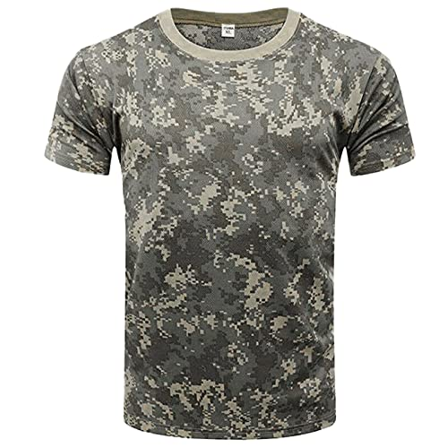 Sport Shirt Camiseta Ajustada De Camuflaje para Hombre Sport Fitness Fashion Transpirable Work Men T-Shirt Wild Camping T-Shirt Cuello Redondo Camiseta De Manga Corta B-002 XL