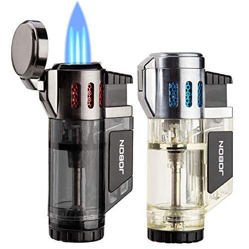 Torch Lighters 2 Pack Triple Jet Flame Butane Lighter 3 Flame Torch Cigar Lighter Fluid Refillable Jet Lighter-Butane Not Included (Black & Silver)