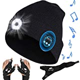 LED Beanie Hat with USB Rechargeable Light and Bluetooth for Men Women + 2x LED Flashlight Gloves,Unisex Winter Warm Knit Lighting Caps,Headlamps Beanie for Outdoor Running Camping Fishing