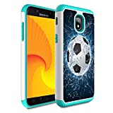 Galaxy j3 2018/J3 Achieve/Express Prime 3/j3 Star/J3 V 3rd Gen 2018/j3 Orbit case,Skyfree Heavy Duty Dual Layer Bumper Protective Phone Case for Samsung Galaxy J3 2018,Soccer Ball in Water