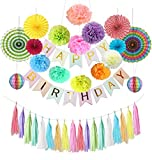 Tissue Paper Pom Poms Flowers Balls DIY Tassels Party Decorations Combo Kit, Star Garland Banner Triangle...