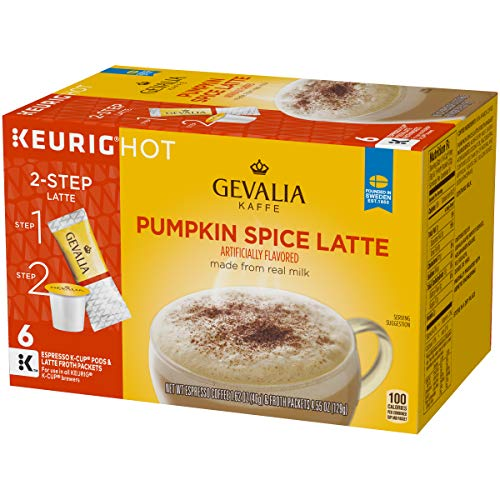 Gevalia Pumpkin Spice Latte Espresso K-Cup Coffee Pods and Froth Packets (36 Pods and Froth Packets, 6 Packs of 6)