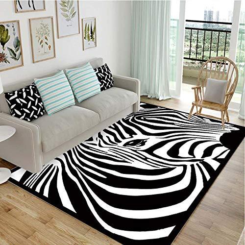Simmia Home Alfombra De Salón Diseño Moderna Rayas Blancas y Negras de Cebra 50 * 80 cm Rugs para Salón habitación Dormitorio Antideslizante Interior al Aire Libre