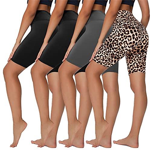 "Sundwudu 4 Pack Biker Shorts for Women - 8"" High Waist Tummy Control Summer Workout Shorts for Running Yoga Athletic, Large-X-Large"