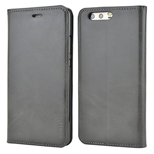 Mulbess Funda Huawei P10 Plus [Libro Caso Cubierta] Slim de Billetera Cuero Carcasa para Huawei P10 Plus Case, Gris