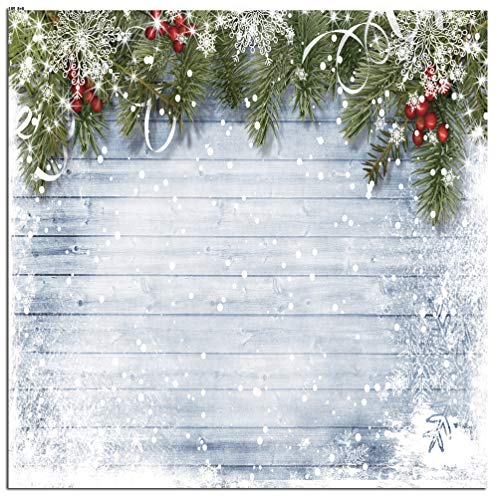 CYLYH 8X8ft Christmas Photography Backdrops for Photographers Wood Wall Backdrop White Snow Photo Background D189