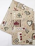 R.P. Set 6 Strofinacci - canovacci da Cucina cm 50x70 - Made in Italy - Holly Bordeaux Cuori Tirolese Country Chic