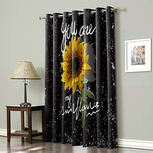 SODIKA Grommet Top Curtains for Living Room Bedroom Window Treatment Curtain Draperies - Sunflowers You are My Sunshine 52 x 63 inch,1 Panel
