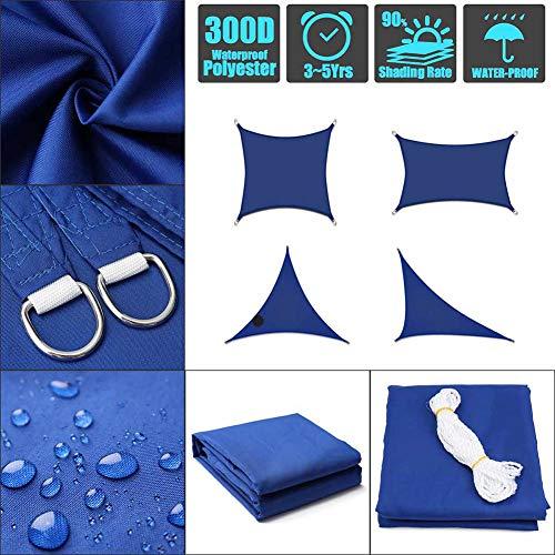 ZSHXF Sun Shade Sail,6x6M Durable Práctica Sólida Herramienta de protección Solar Transpirable Sun Shade Sail Telas para toldos,Azul
