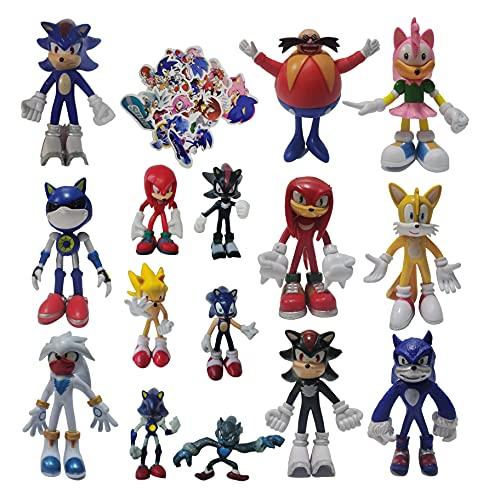 XIANGQIAN Traje Sonic Un conjunto de nueve figuras grandes + un conjunto de seis figuras pequeñas Figura Sonic el erizo Metallic Anime Modelo Regalo