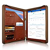 Zippered Padfolio, WOBEECO Portfolio Binder Conference Folder Multifunctional Business Files Organiser with Pockets and Card Holders, Leather A4 (Brown)