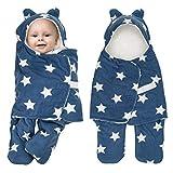 Adjustable Newborn Baby Swaddle Blanket Wrap 0-12 Months 1 Pack Premium Cotton (Blue)