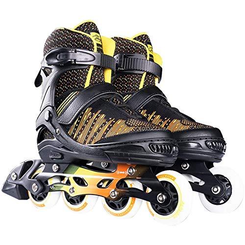 Rong-- Unisex Größe Verstellbarer Inline-Skate, Fitness-Performance Inline-Klingen-Skates, Für Kinder Frauen Männer Erwachsene Jungen Mädchen-Inline-Rollschuh,Schwarz,L(39~41)