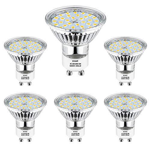 Bombilla LED GU10 Blanco Frio, Wowatt GU10 LED 5W Equivalente a Halógena de 40W 35W 6000K Iluminación Interior AC 220V 450lm Lámpara GU 10 LED 82Ra Ángulo de Haz de 120°No Regulable Paquete de 6