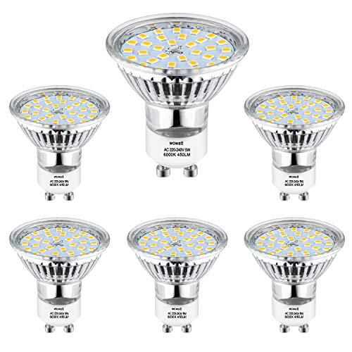 Wowatt 6er GU10 LED Kaltweiss LED GU10 Lampe Tageslichtweiß 6000K 5W 230V ersetzt 40W 35W 30W Halogenlampe 450lm Kein Stroboskopeffekt Hohe CRI AC220V-240V 120° Abstrahwinkel LED Birnen Leuchtmittel