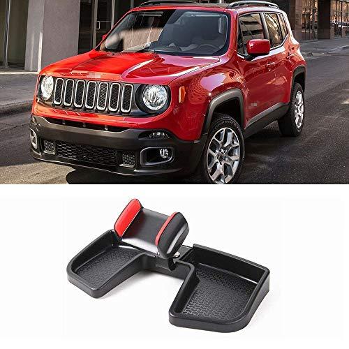 LITTOU Handyhalter ABS Auto Dash 360 Grad Drehen mit Aufbewahrungsbox GPS Halter Auto Mobile Stand Kit für Renegade 2015 -2019 (SCHWARZ & ROT)