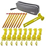 Aluminum Tent Stakes Peg and 8 Reflective Guylines with Cord Adjuster, A Good Travel Accessory Kit for Camping Hiking and Other Outdoor Recreation (8 Pegs 8 Rope 1Mallet)