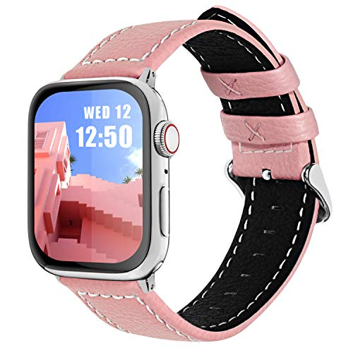 Fullmosa Cinturino per Apple Watch 44mm/42mm, Jan Cinturino in Pelle con Chiusura in Acciaio Inossidabile Compatibile con iWatch Serie SE 6 5 4 3 2 1, Rosa, 42mm/44mm