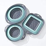 LAFALINK Colador plegable de silicona, 3 unidades, ahorra espacio, colador...