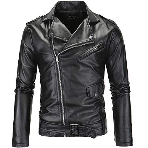 MISSMAOM Retro Morbido Giacca Motociclista in Pelle Sintetica Biker Jacket Cappotto con Cintura Nero S