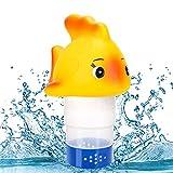 RenFox Pool Chlor Floater, Dosierschwimmer, Chlordosierschwimmer in Goldfischform, mit Einstellbarer Abgaberate, für Schwimmbad, Whirlpool und Spa, Kann 5 Stück 3 Zoll Chlortabletten aufnehmen