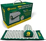 Nayoya Neck and Back Pain Relief - Acupressure Mat and Neck Pillow Set - Relieves Stress and Sciatic Pain for Optimal Health and Wellness - Comes in a Carry Box with Handle for Storage and Travel