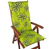 Hochlehner Auflage Naxos für Gartenstühle 118x49 cm Blume Grün - 6 cm Starke Premium Stuhlauflage mit Komfortschaumkern - Sitzauflage Made in EU