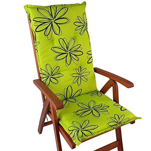 DILUMA Hochlehner Auflage Naxos für Gartenstühle 118x49 cm Blume Grün - 6 cm Starke Stuhlauflage mit Komfortschaumkern und Bezug aus 100% Baumwolle - Made in EU mit ÖkoTex100